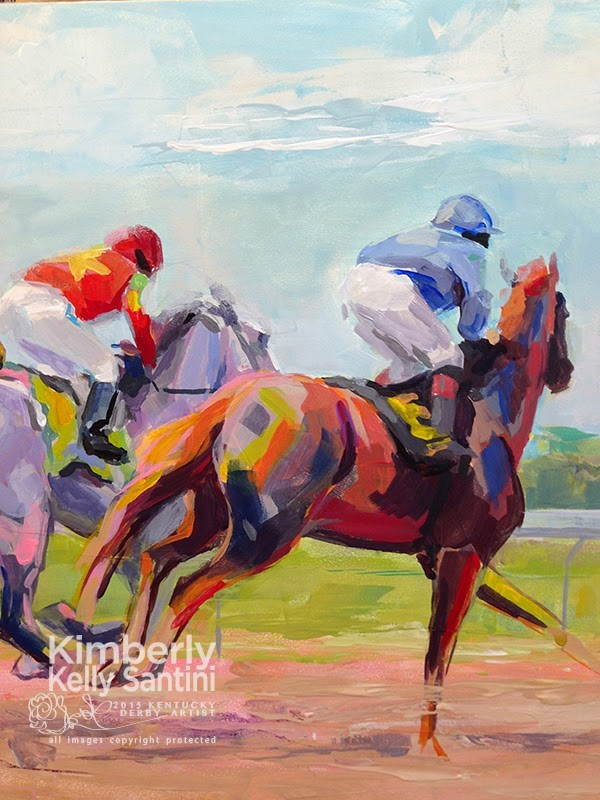 """In Process Detail: The First Furlong"" original fine art by Kimberly Santini"