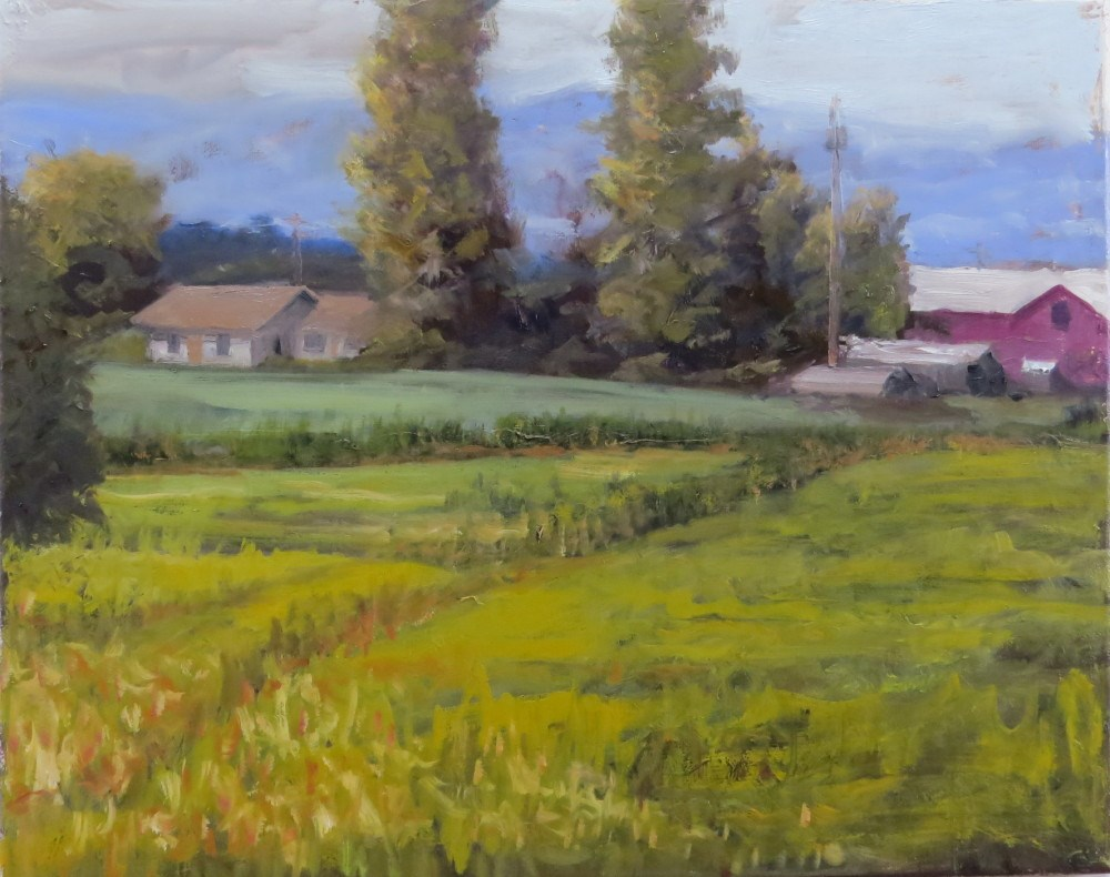 """Farm With Red Barn"" original fine art by Richard Kiehn"