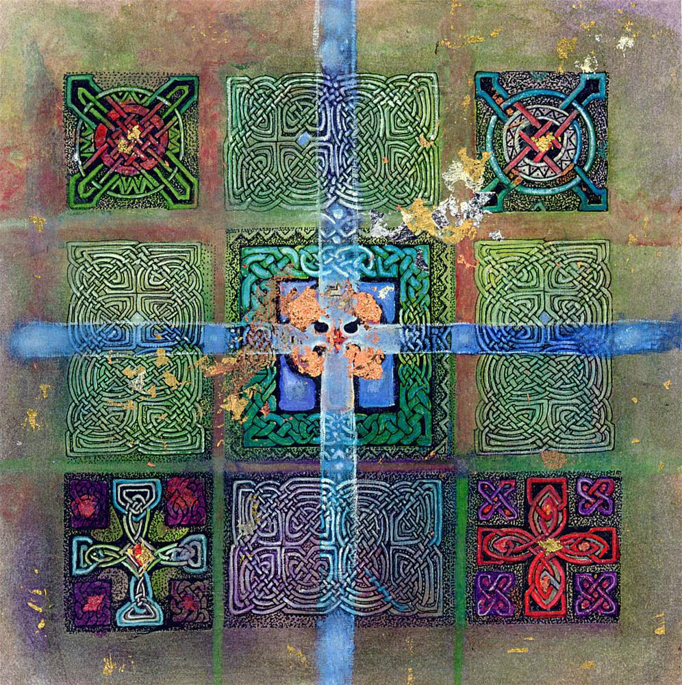 """Blue Copper Cross"" original fine art by Deirdre McCullough Grunwald"