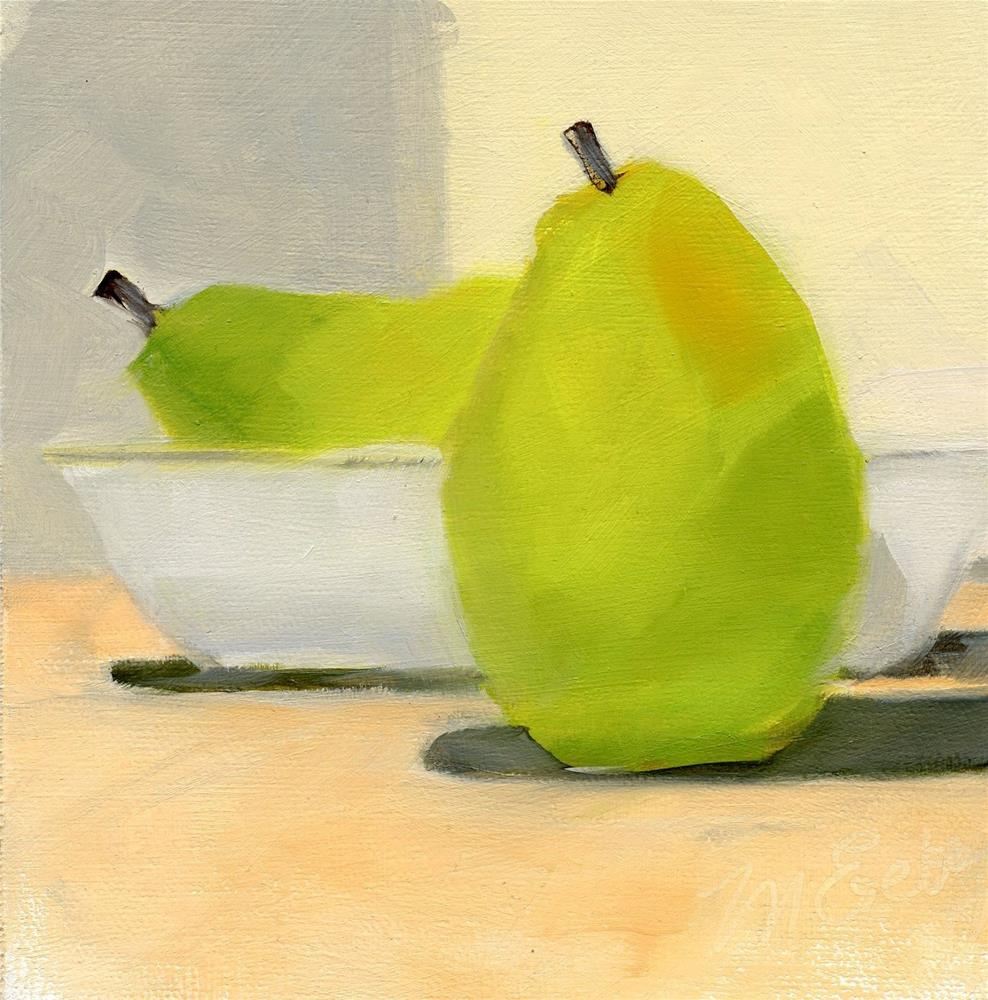 """Two Pears and a Bowl"" original fine art by Mitch Egeberg"