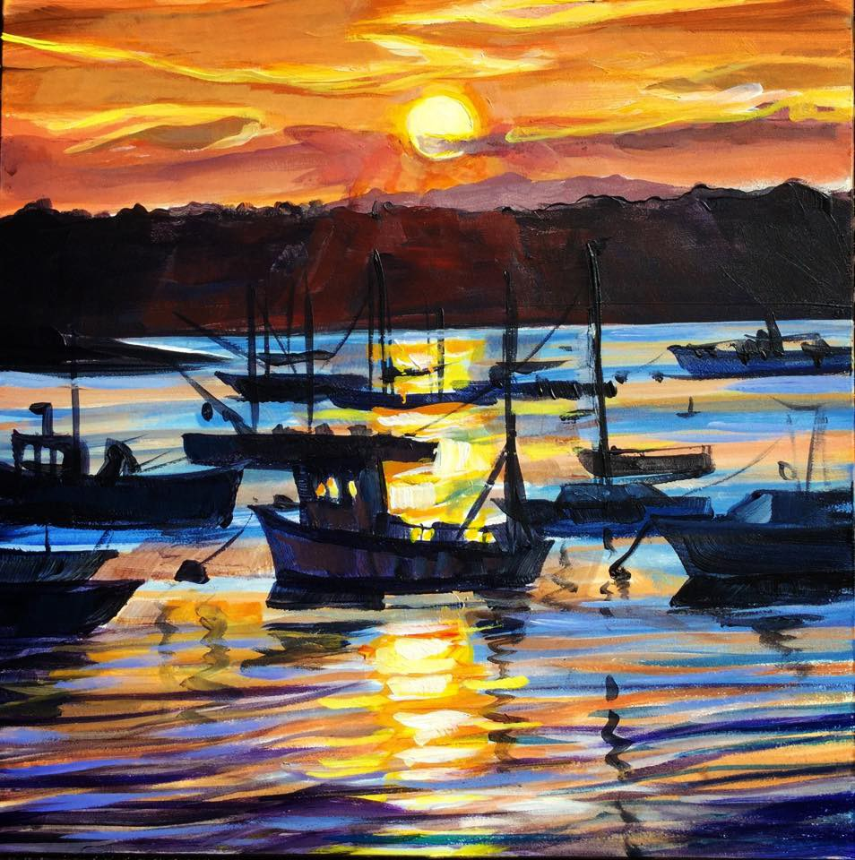 """Sunset Harbor"" original fine art by Lauren Kuhn"