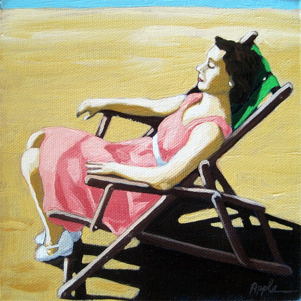 """Summertime Snooze - woman on beach oil painting"" original fine art by Linda Apple"