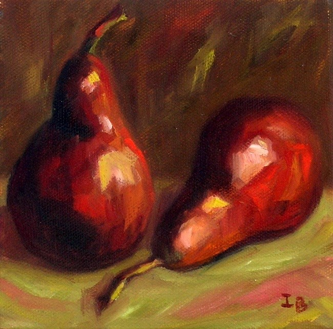 """Red Pears Study"" original fine art by Irina Beskina"