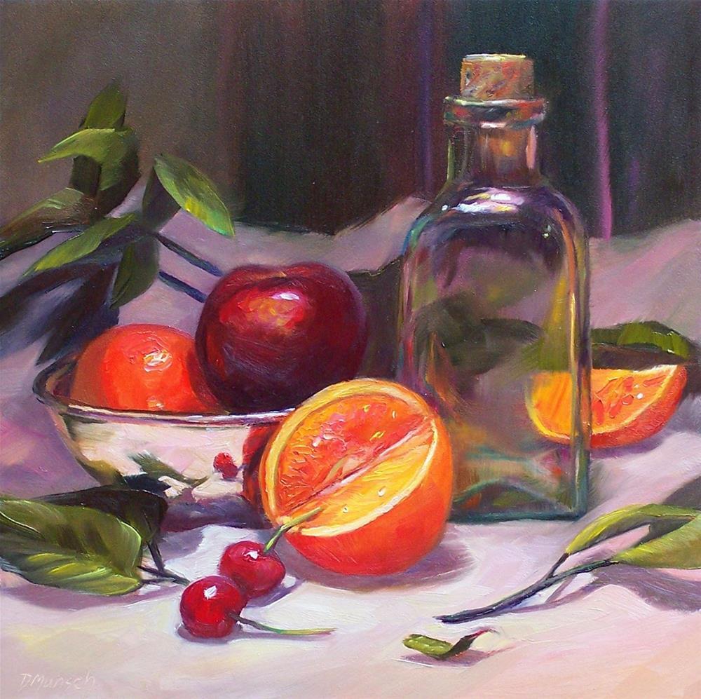 """""""Glass with Fruit"""" original fine art by Donna Munsch"""