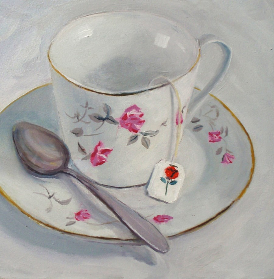 """Teacup"" original fine art by Carole Baker"