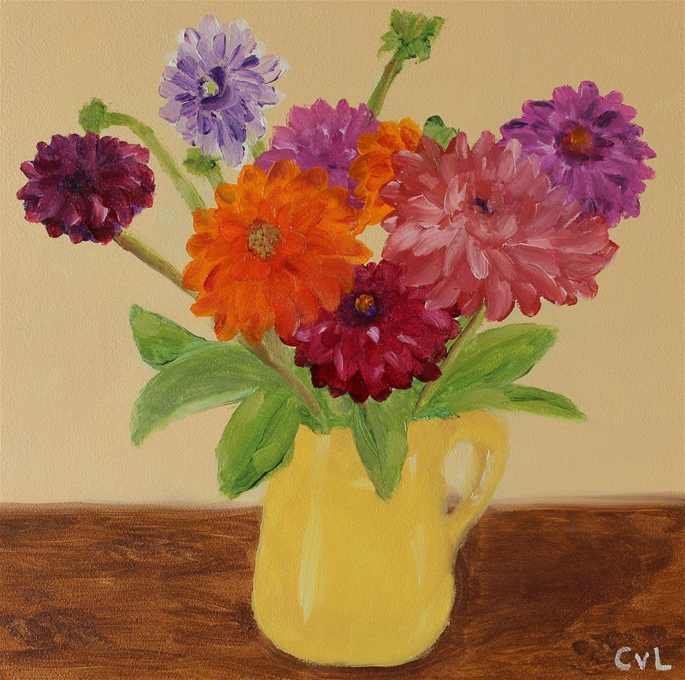 """Dahlias - free shipping"" original fine art by Conny van Leeuwen"