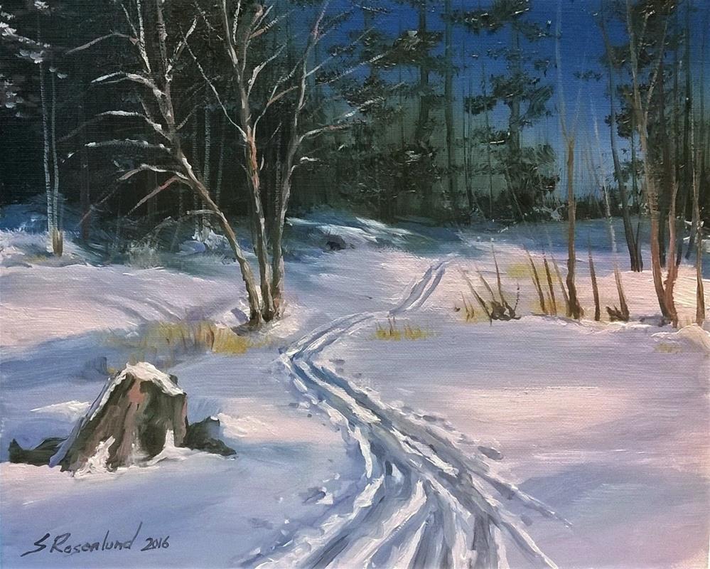 """Out skiing"" original fine art by Stig Rosenlund"