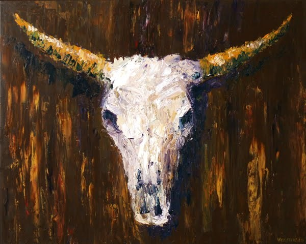 """Mark Webster - Cow Skull Acrylic Painting 24x30 - Textured Palette Knife Acrylic Painting"" original fine art by Mark Webster"