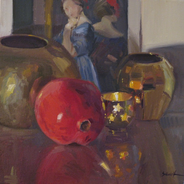 """Pomegranate by Candlelight"" original fine art by Sarah Sedwick"
