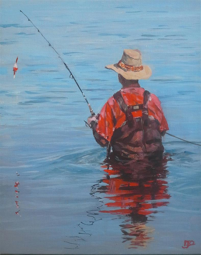 """Fisherman - Reflection Challenge"" original fine art by Leanne Owen"