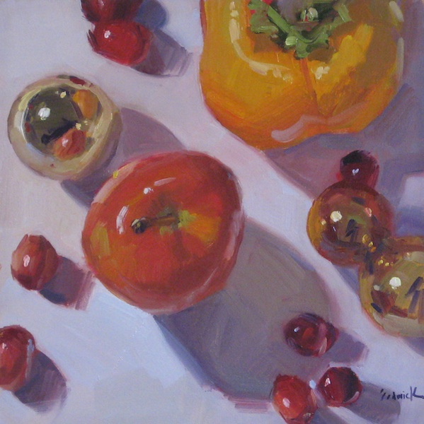 """Persimmon Apple Christmas"" original fine art by Sarah Sedwick"