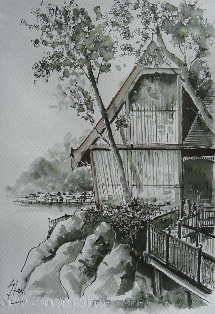 """Fisherman's Cove Restaurant at Pangkor Laut, Malaysia"" original fine art by Martin Stephenson"