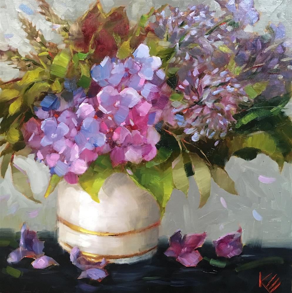 """Hydrangeas in Vintage vase"" original fine art by Krista Eaton"