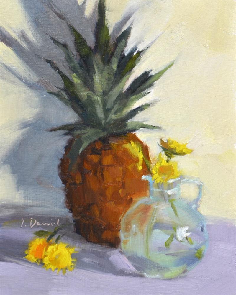 """Pineapple Shadows - Twenty-five of 30 in 30"" original fine art by Laurel Daniel"