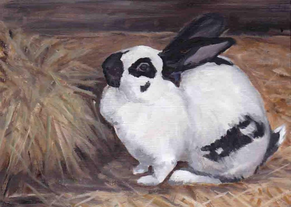 """Black and White Bunny"" original fine art by Charlotte Yealey"
