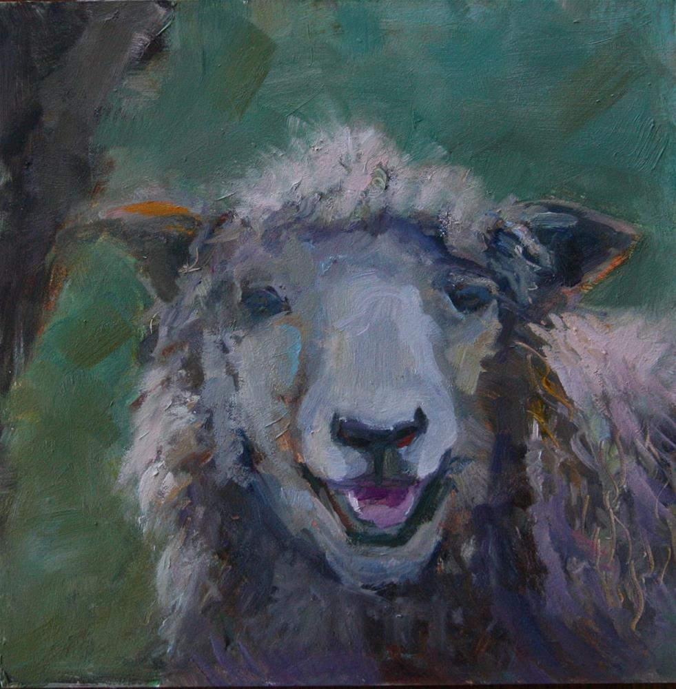"""Smiling Sheep"" original fine art by Carol Josefiak"