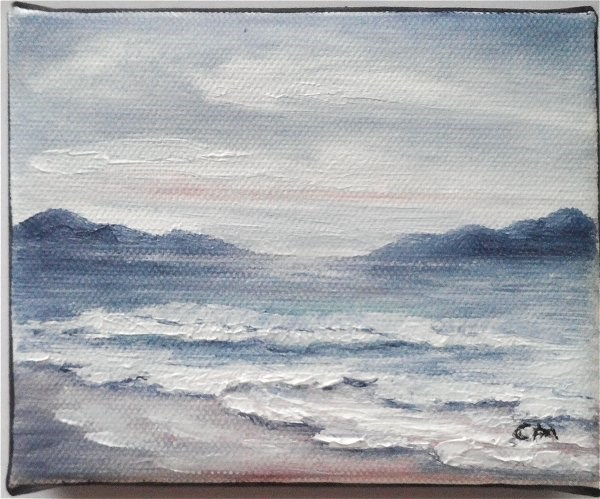 """Beach Overcast Day"" original fine art by Camille Morgan"