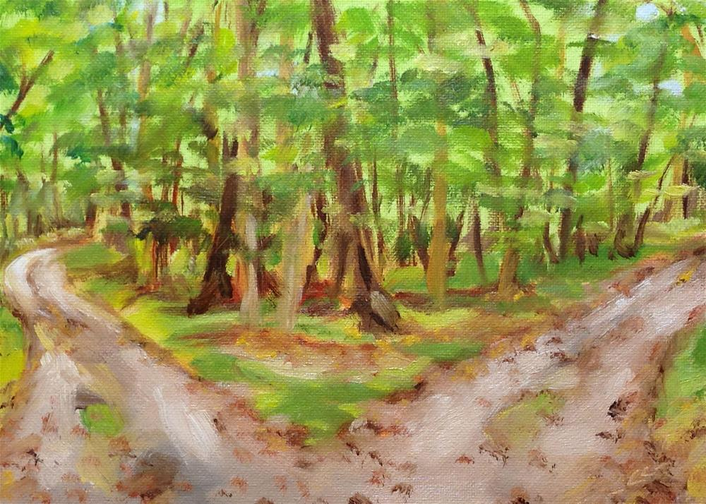 """Two Paths Diverged"" original fine art by Linda Lowery"