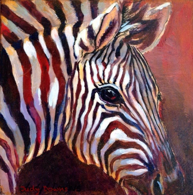 """Black and white? Red all over."" original fine art by Judy Downs"