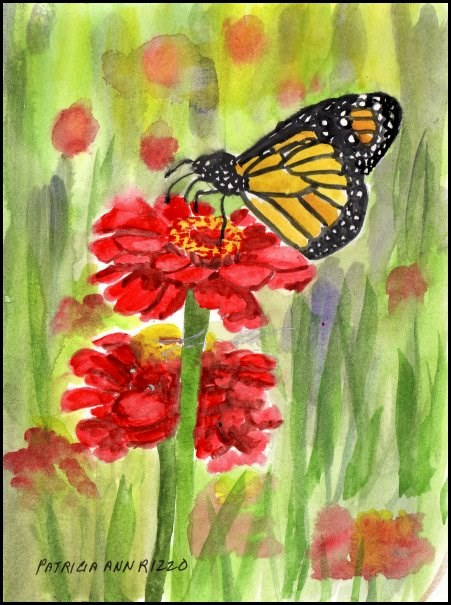 """Monarch Butterfly on Red Flowers"" original fine art by Patricia Ann Rizzo"