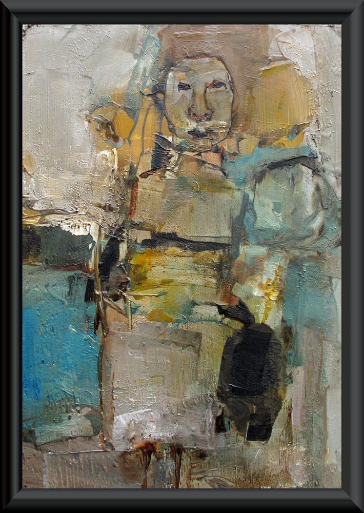 """""""THE SOLOIST Original ABSTRACT FIGURE PORTAIT 5X7 Art Painting OIL"""" original fine art by Colette Davis"""