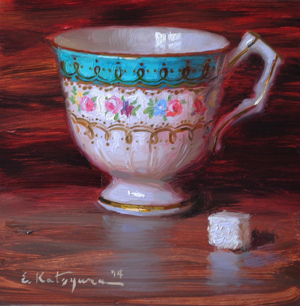 """Cup and Sugar Cube"" original fine art by Elena Katsyura"