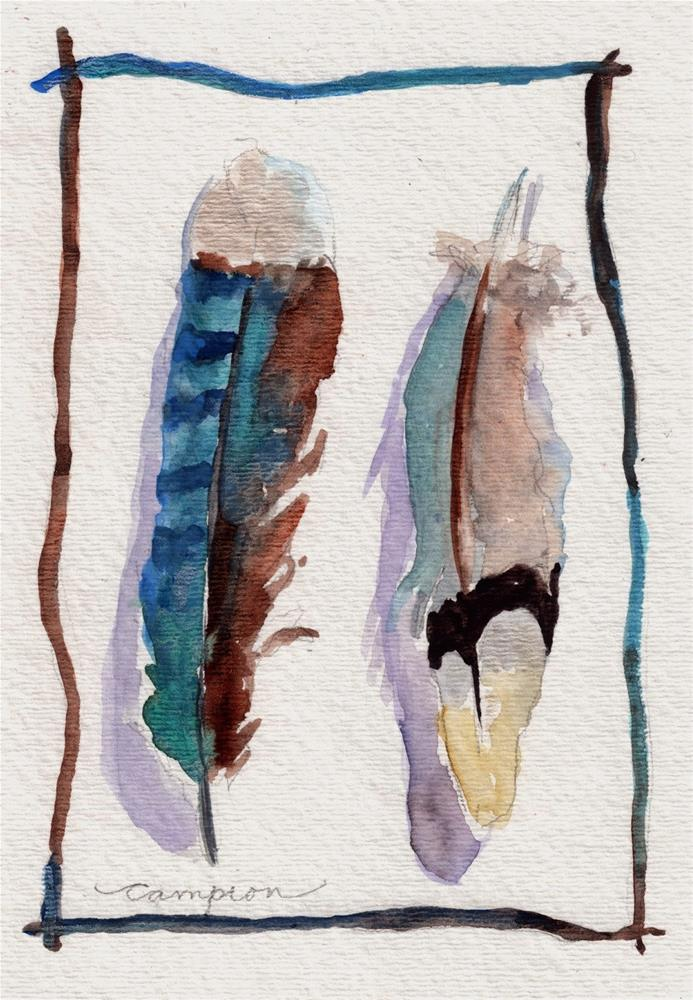 """""""374 Feathers Side by Side"""" original fine art by Diane Campion"""