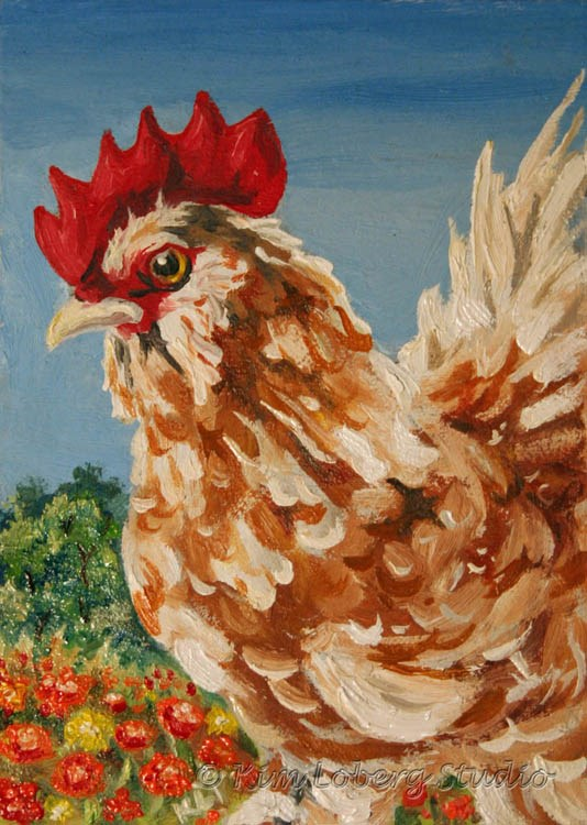 """Blending In - Feather Footed Rooster Among Marigolds"" original fine art by Kim Loberg"