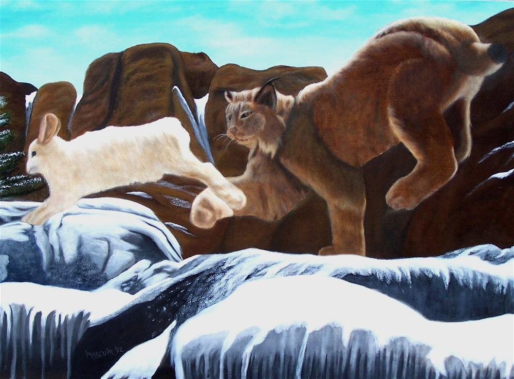 """Bobcat and Rabbit"" original fine art by John Marcum"