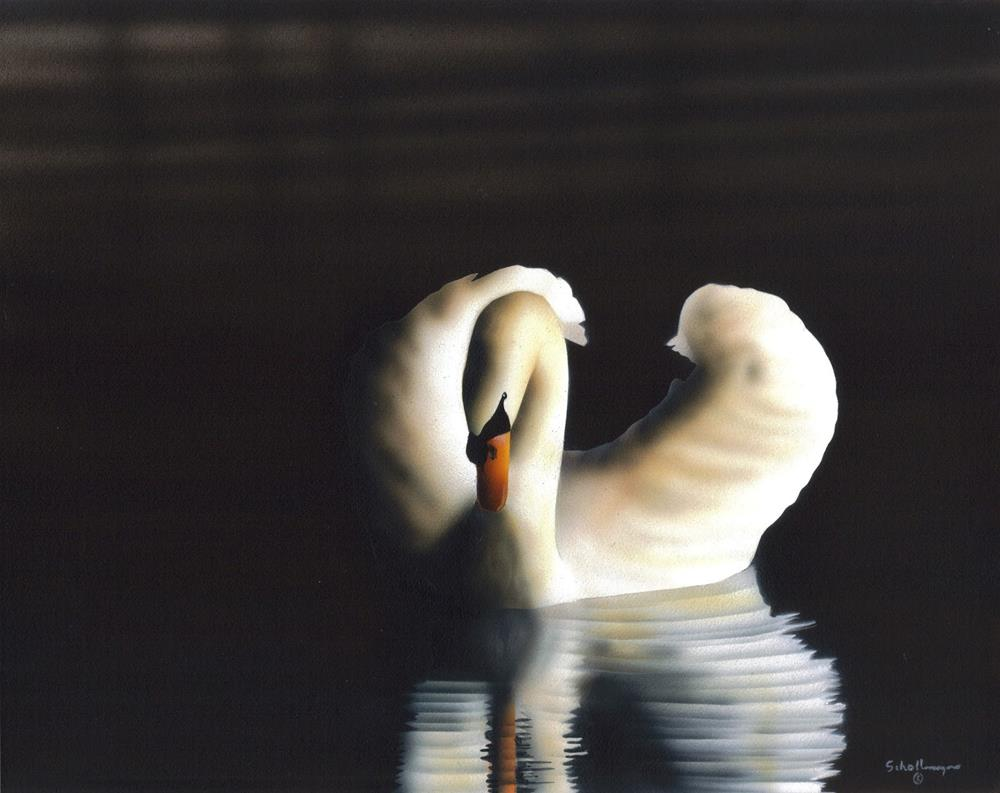 """Swan at Dusk"" original fine art by Fred Schollmeyer"
