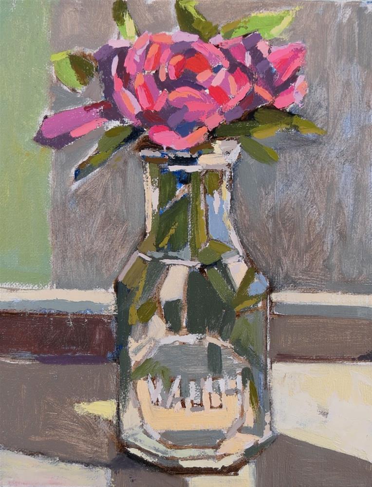 """First Peony"" original fine art by Joan Wiberg"