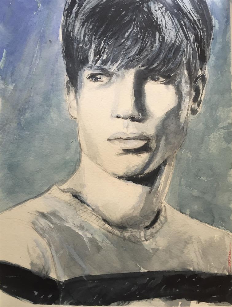 """""""BOY WITH BANGS"""" original fine art by Ferran Llagostera"""