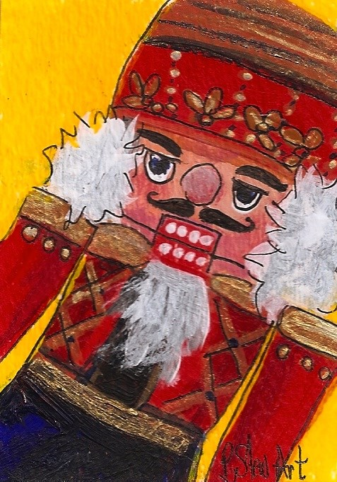 """ACEO Nutcracker Painting Red Soldier Close-up Original Acrylic SFA Penny StewArt"" original fine art by Penny Lee StewArt"