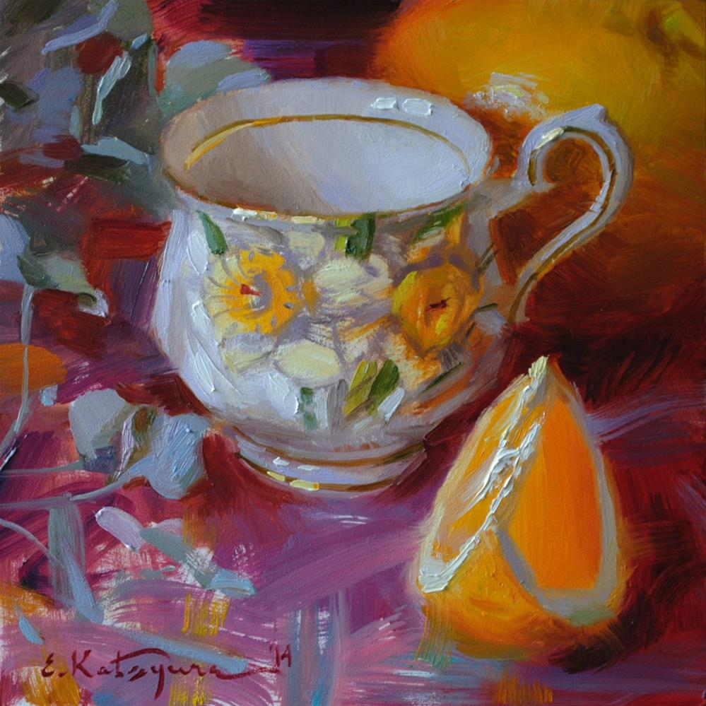 """Daffodil Cup and Orange"" original fine art by Elena Katsyura"