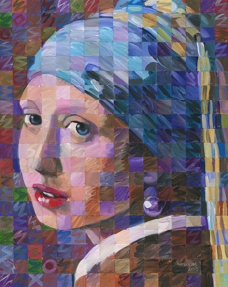 """Girl With A Pearl Earring (Variation On Vermeer)"" original fine art by Randal Huiskens"