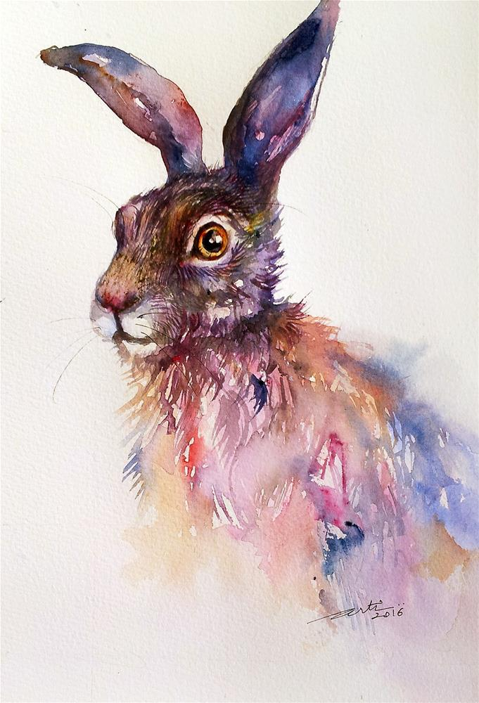 """Blueberry Hare"" original fine art by Arti Chauhan"