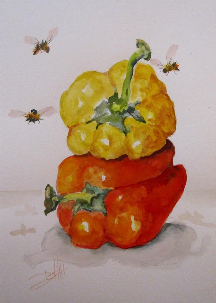 """Yellow and Red Pepper"" original fine art by Delilah Smith"