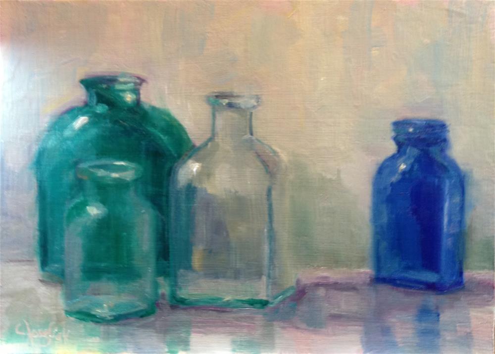 """Blues and greens"" original fine art by Carol Josefiak"