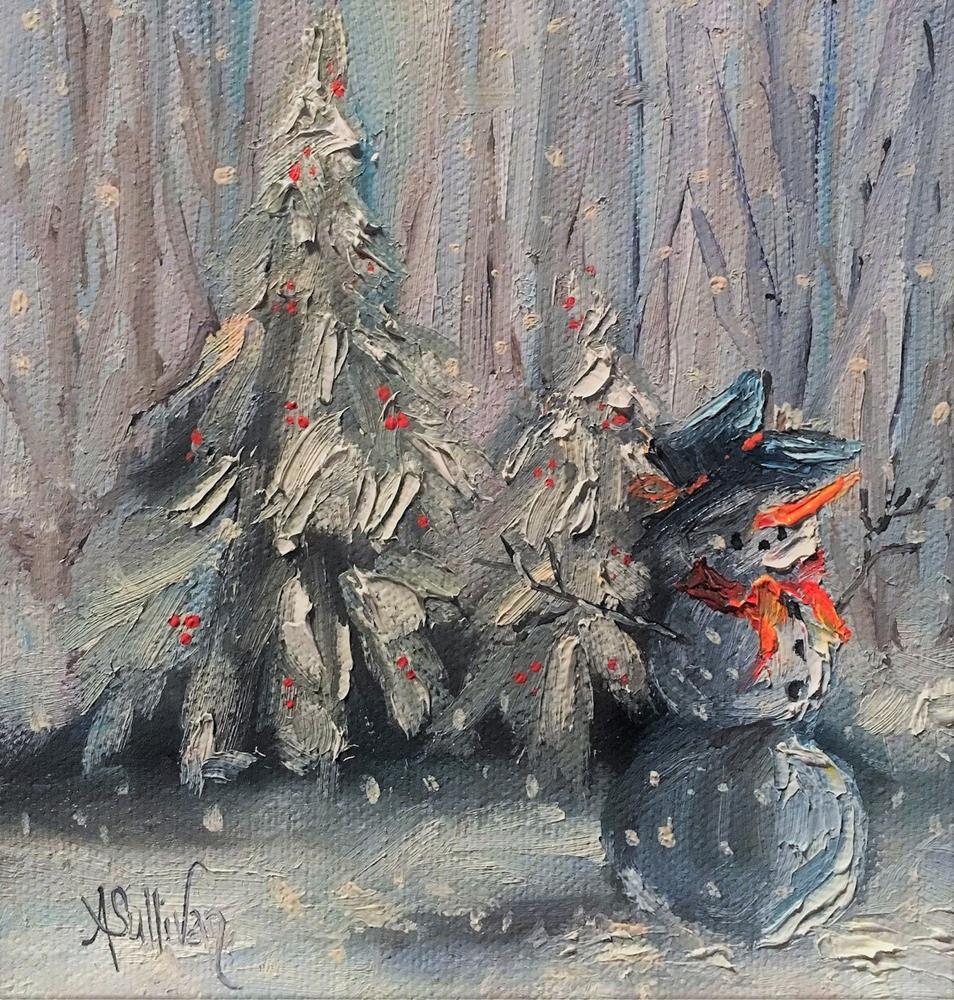 """Waiting for Mrs Claus snowman painting by Alabama Artist Angela Sullivan"" original fine art by Angela Sullivan"