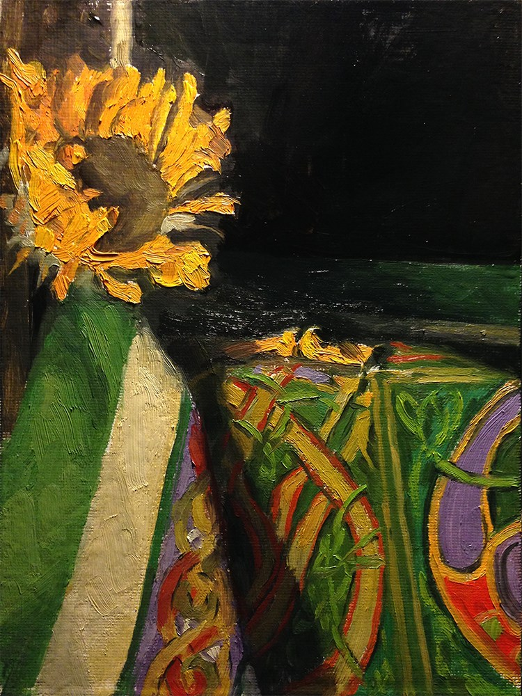 """""""Wilted sunflower over Celctic cloth"""" original fine art by Chris Beaven"""