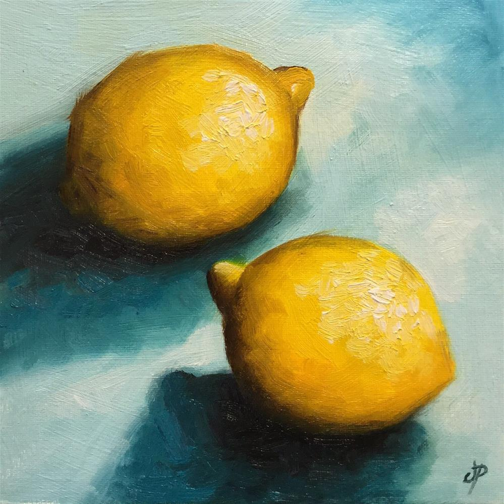 """Lemons on blue"" original fine art by Jane Palmer"