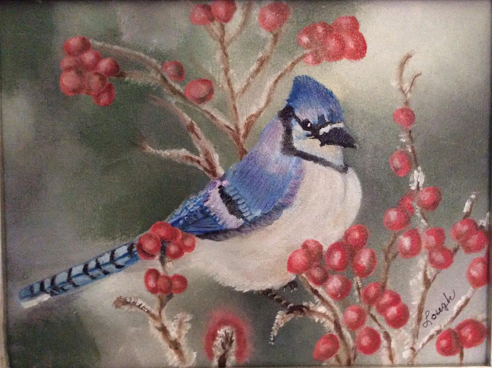 """Pesky Jay"" original fine art by Charlotte Lough"