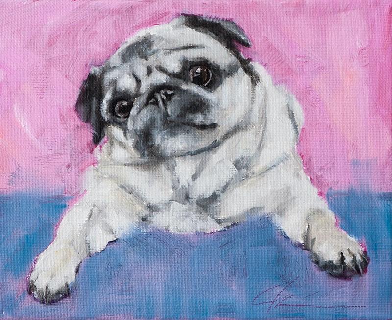 """Pug Wine"" original fine art by Clair Hartmann"