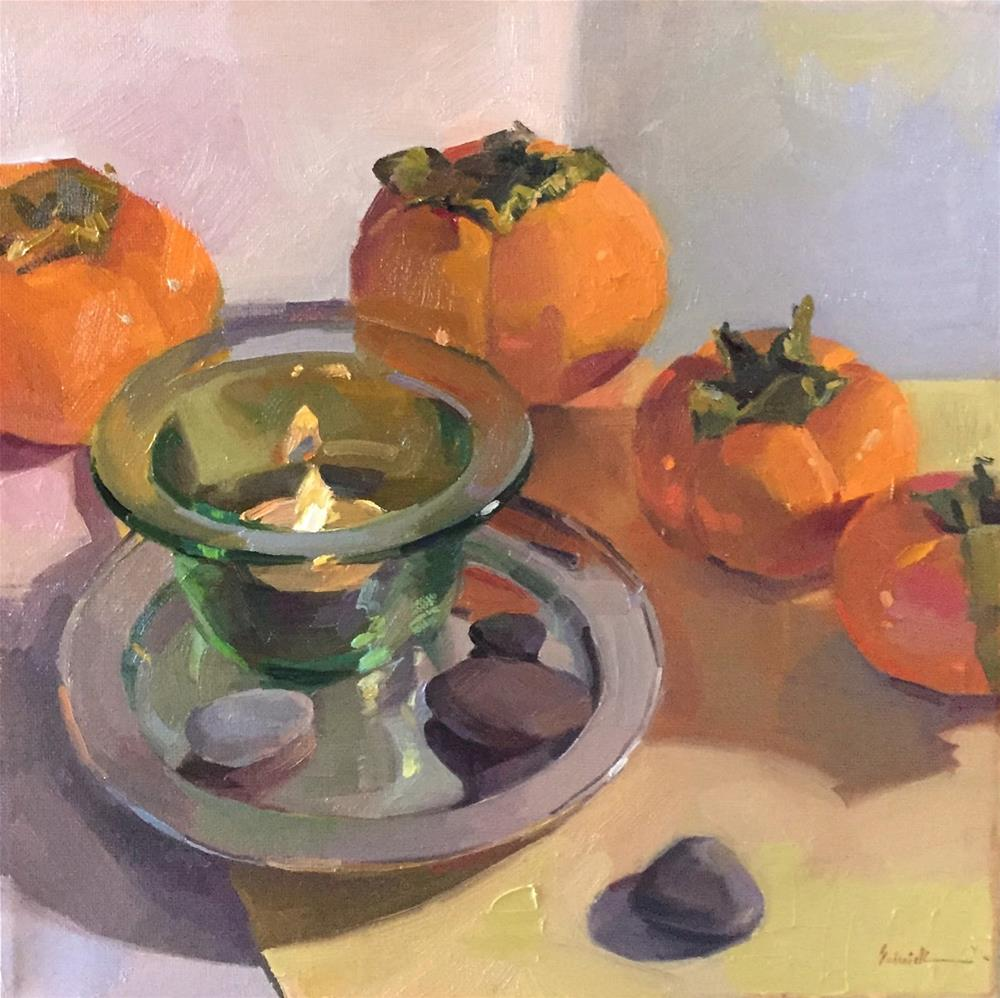 """Candle In Glass (Persimmons)"" original fine art by Sarah Sedwick"