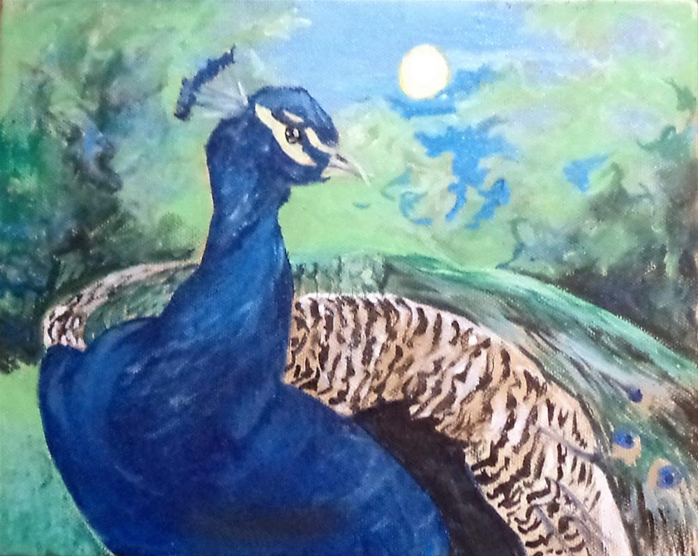 """""""Peacock with landscape"""" original fine art by tara stephanos"""