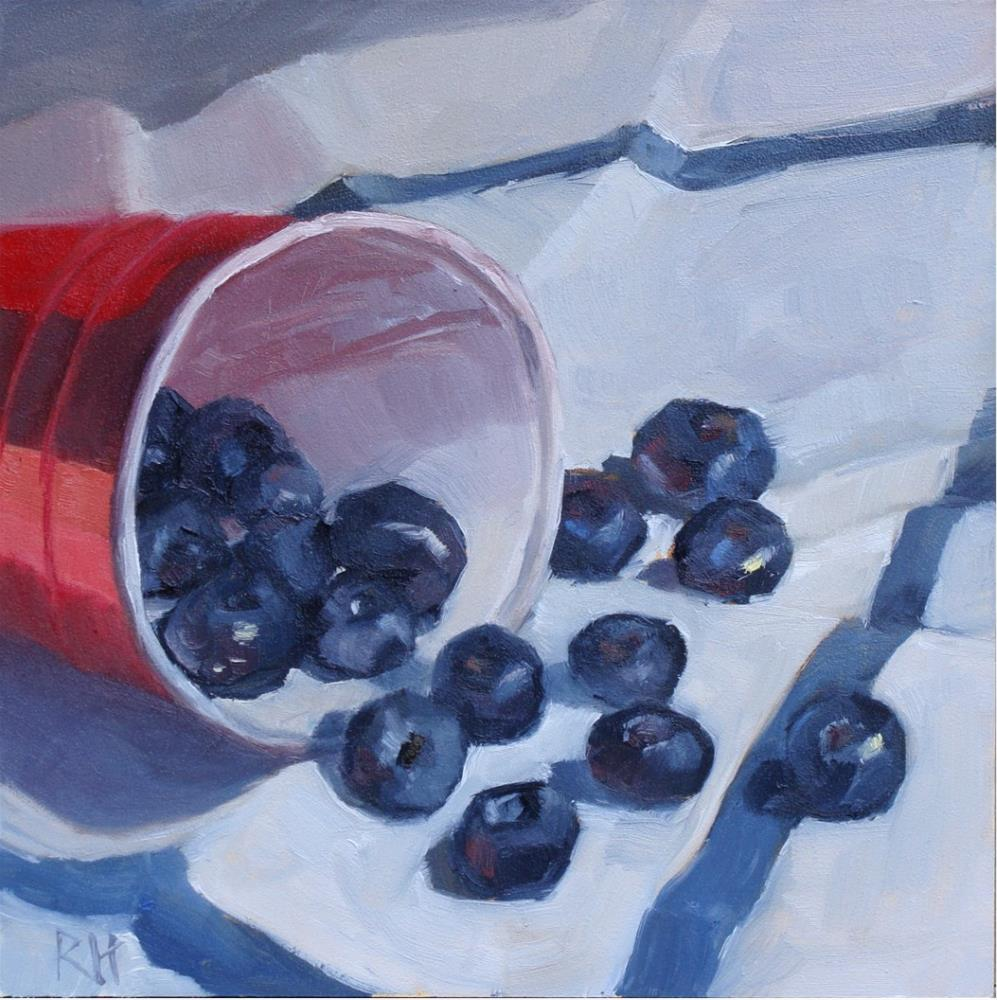 """Red, White, and Blueberries"" original fine art by Rebecca Helton"