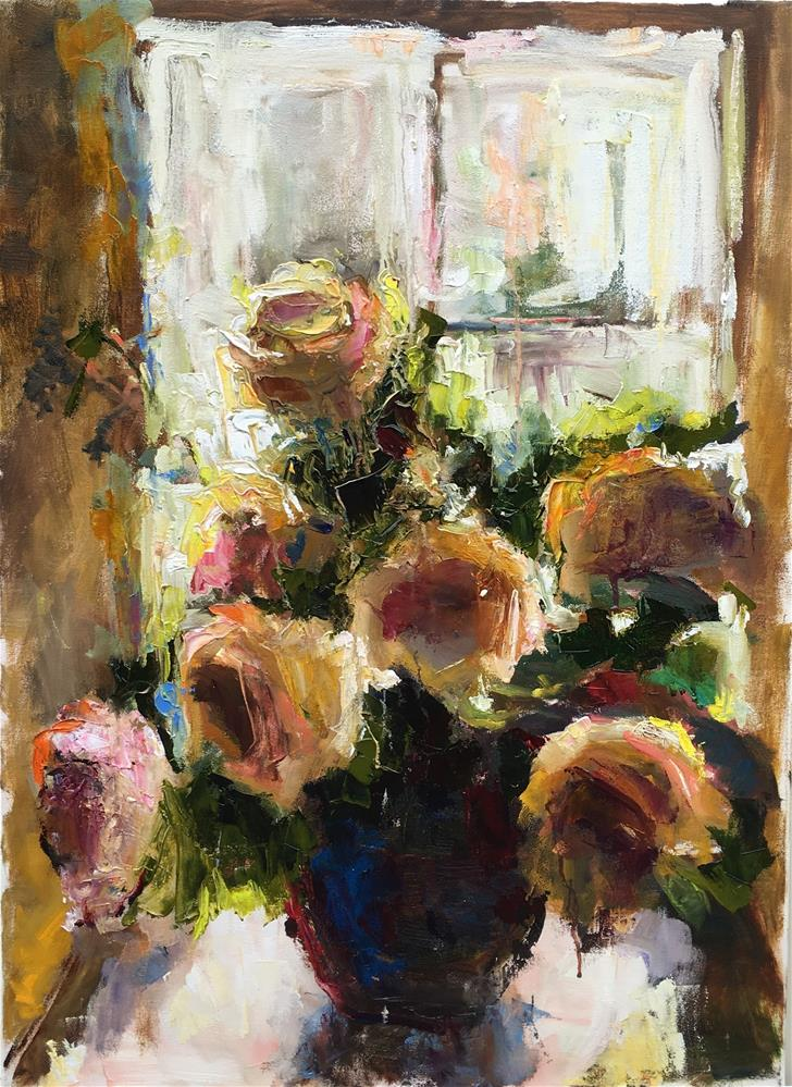 """Afternoon Roses"" original fine art by pepa sand"