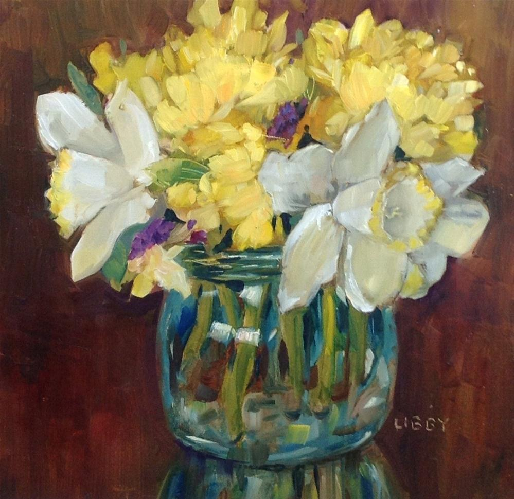 """White Daffodils"" original fine art by Libby Anderson"
