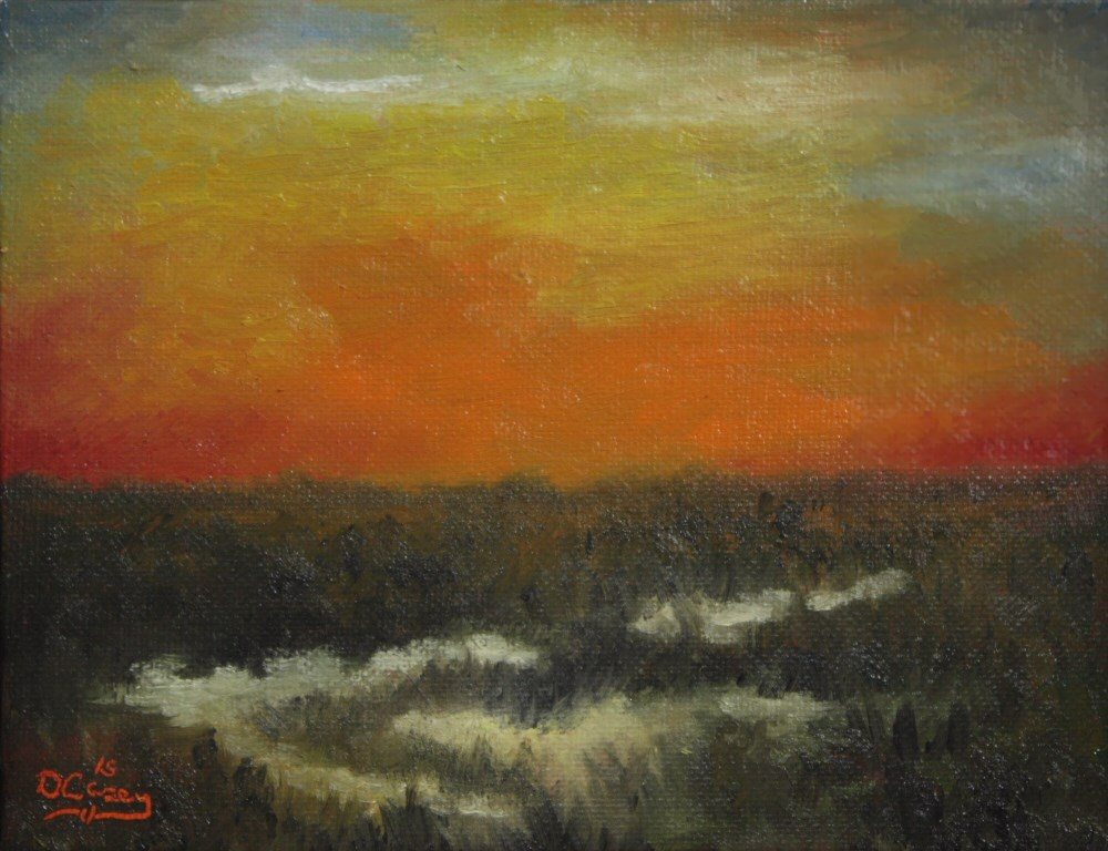 """Morning on the Marsh 001a 6×8 oil on canvas panel – Dave The Daily Painter"" original fine art by Dave Casey"