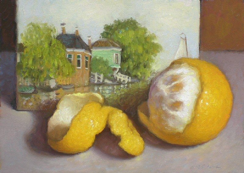 """Peeled Orange and Monet"" original fine art by Debra Becks Cooper"